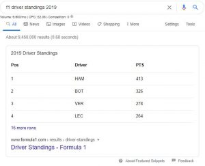 f1 driver standings 2019